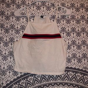 Divided White w/ Red + Blue Stripe Tank